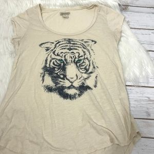LUCKY BRAND WOMENS TIGER TEE SHIRT SIZE SMALL